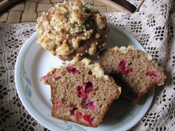 Cranberry Applesauce Sourdough Muffins